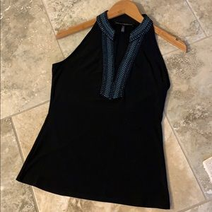 Halter black top with detail stitching